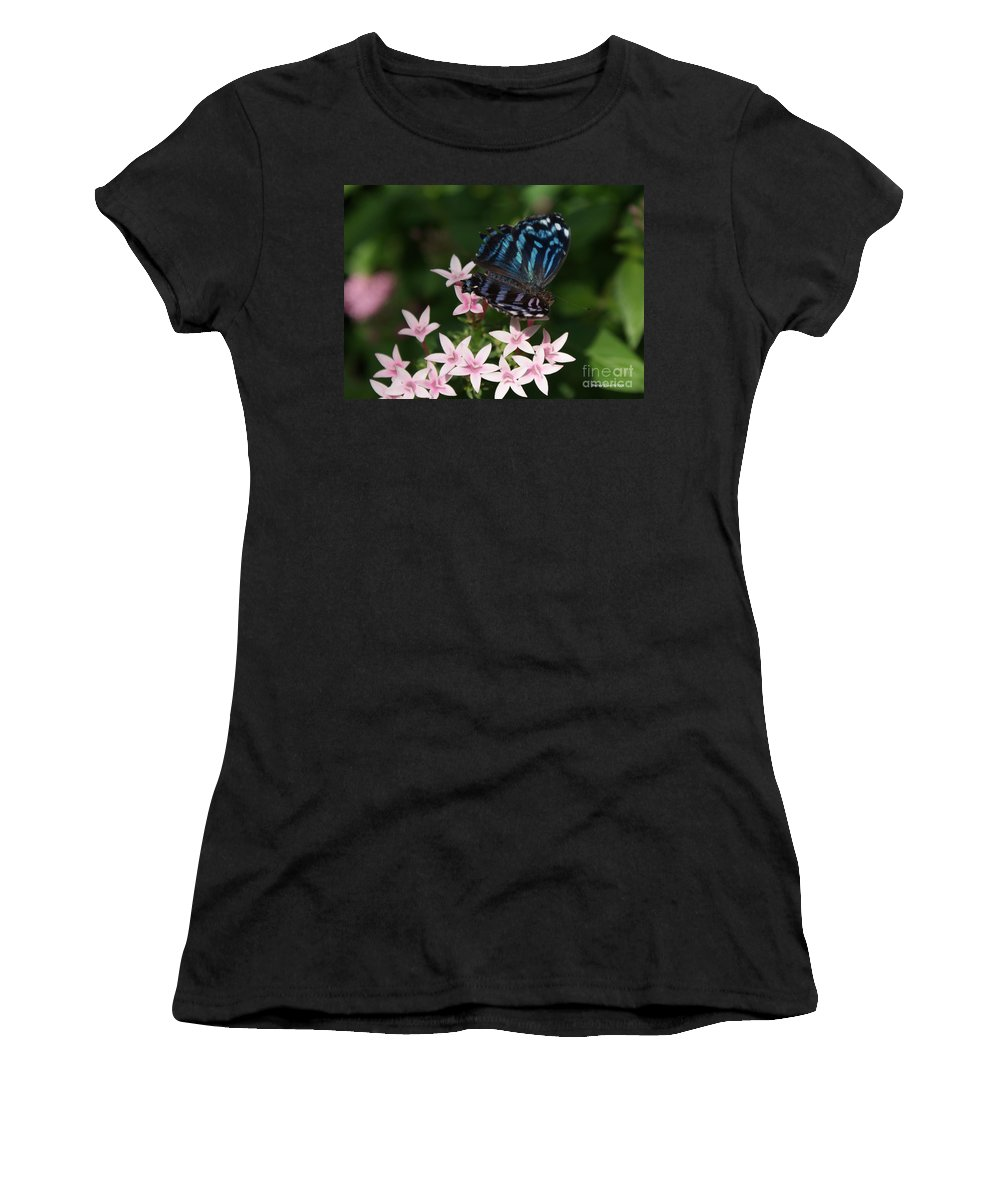 Butterfly Women's T-Shirt (Athletic Fit) featuring the photograph Blue And Pink Make Lilac by Shelley Jones