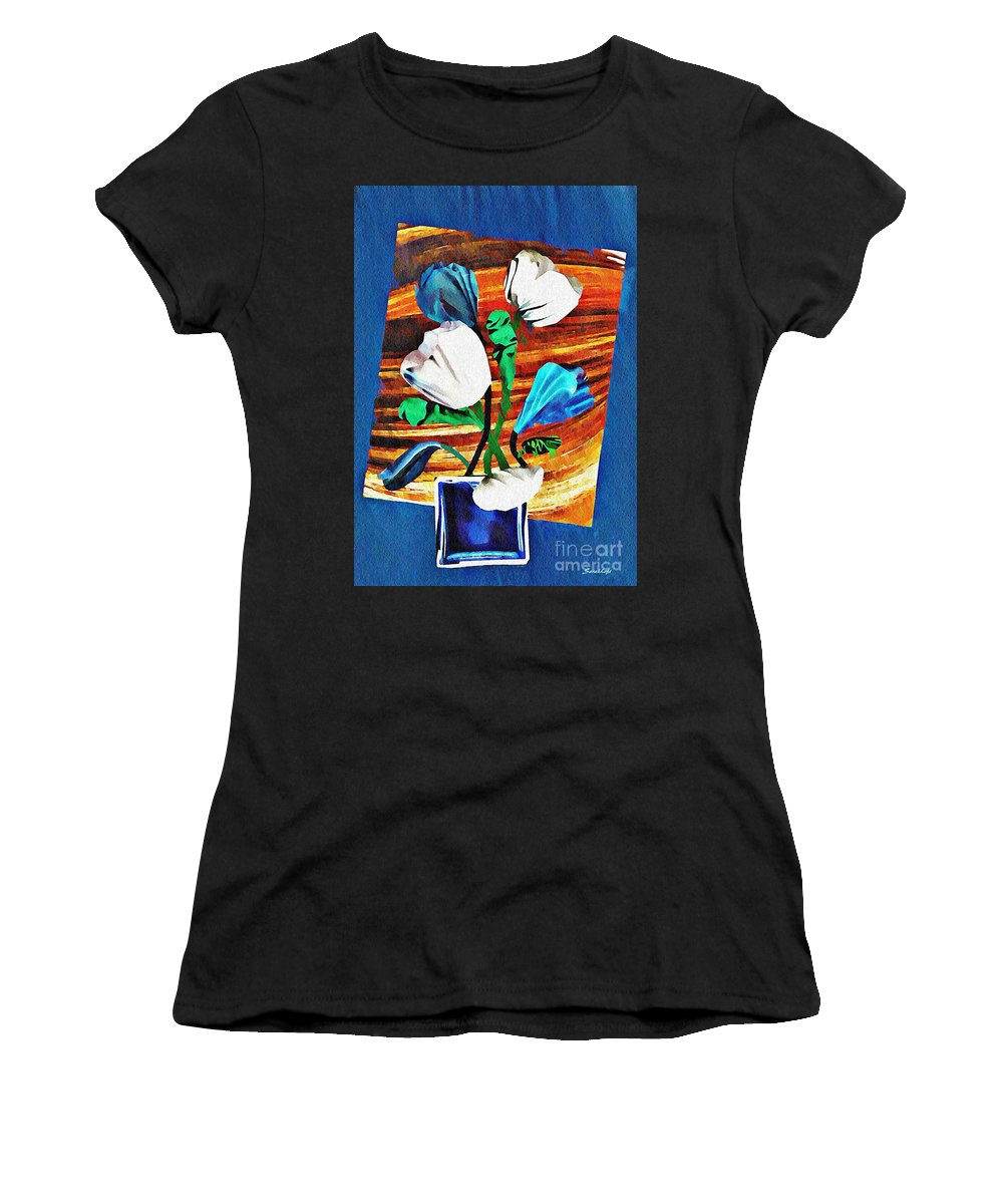 Tulip Women's T-Shirt (Athletic Fit) featuring the mixed media Blue And White Tulips by Sarah Loft