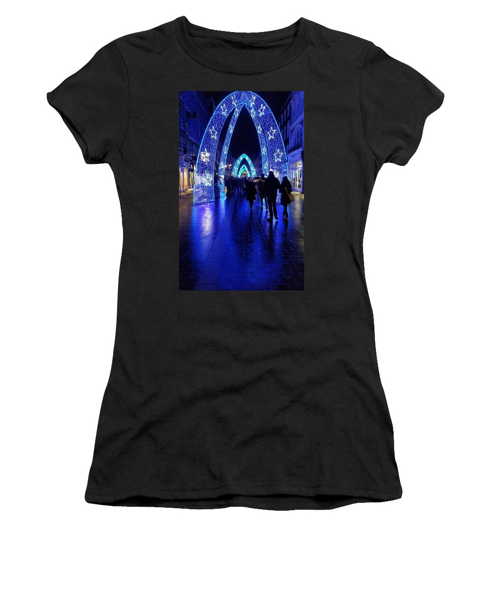 London Women's T-Shirt (Athletic Fit) featuring the photograph Blue Archways Of London by Paige Mitchell