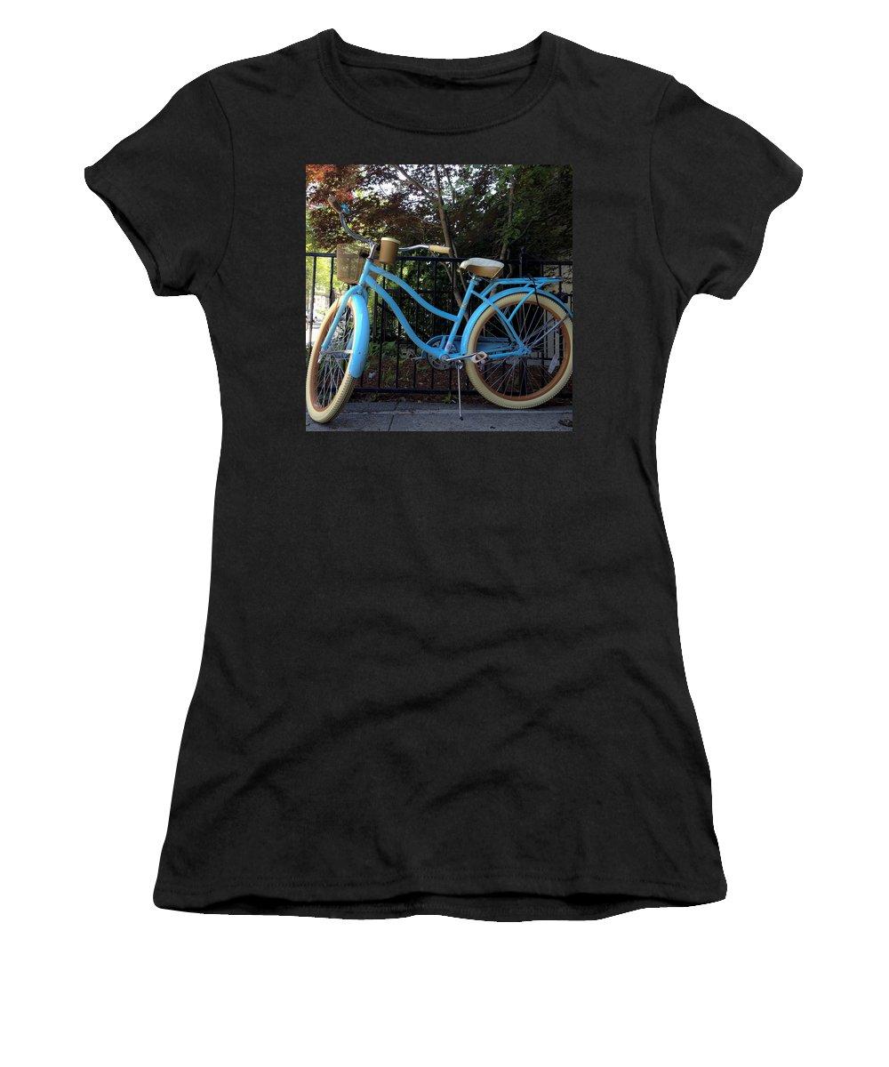 Bike Women's T-Shirt featuring the photograph Blue Bike by David Stone