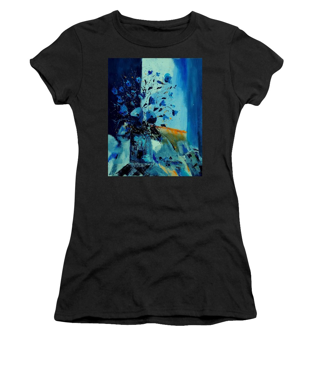 Flowers Women's T-Shirt featuring the painting Blue Bunch 45 by Pol Ledent