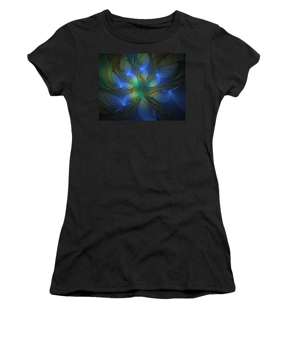 Digital Art Women's T-Shirt (Athletic Fit) featuring the digital art Blue Butterflies by Amanda Moore