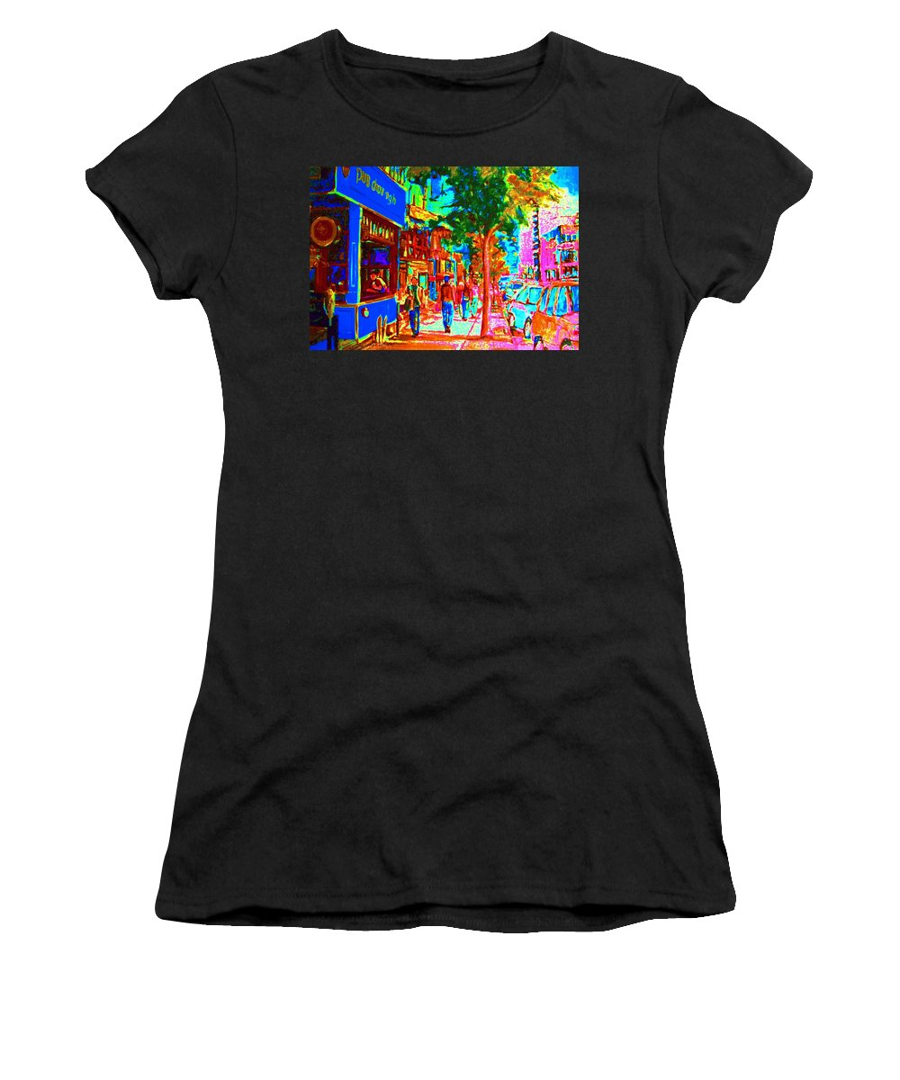 Cafes Women's T-Shirt (Athletic Fit) featuring the painting Blue Cafe In Springtime by Carole Spandau