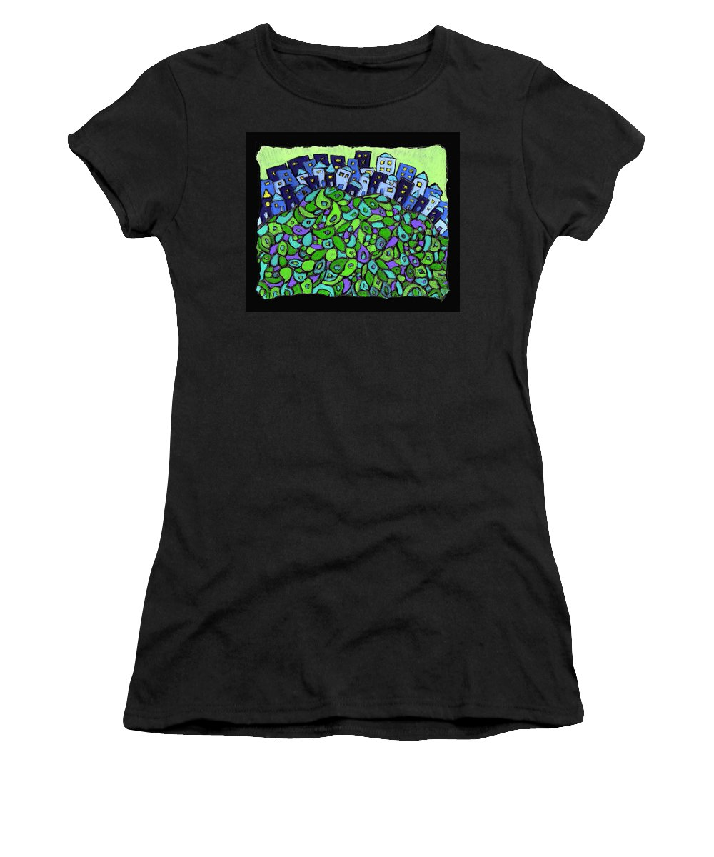 City Women's T-Shirt (Athletic Fit) featuring the painting Blue City On A Hill by Wayne Potrafka