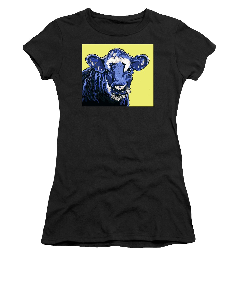 Cow Women's T-Shirt featuring the painting Blue Cow by Richard De Wolfe