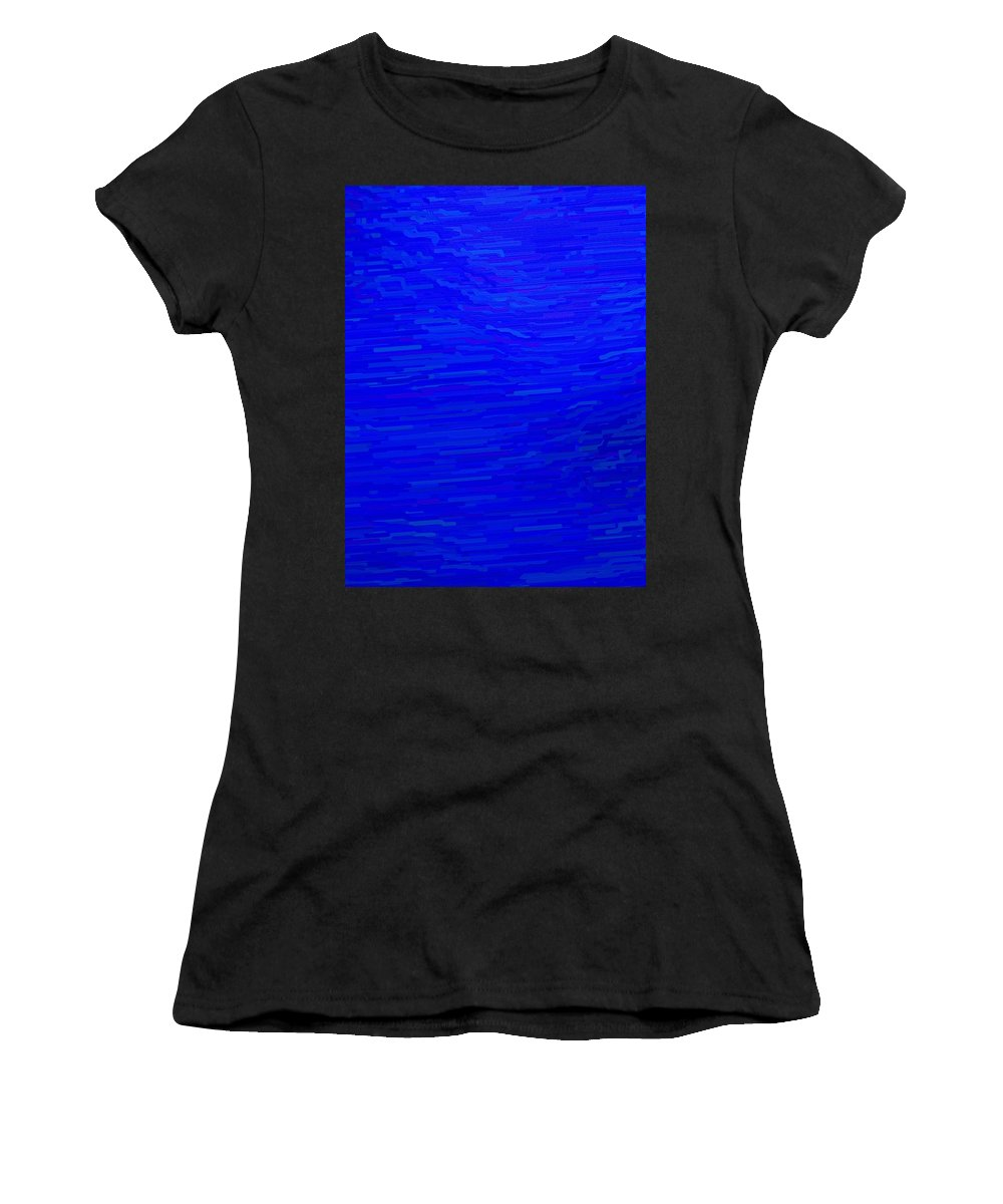 Blue Women's T-Shirt (Athletic Fit) featuring the digital art Blue Currents by April Patterson