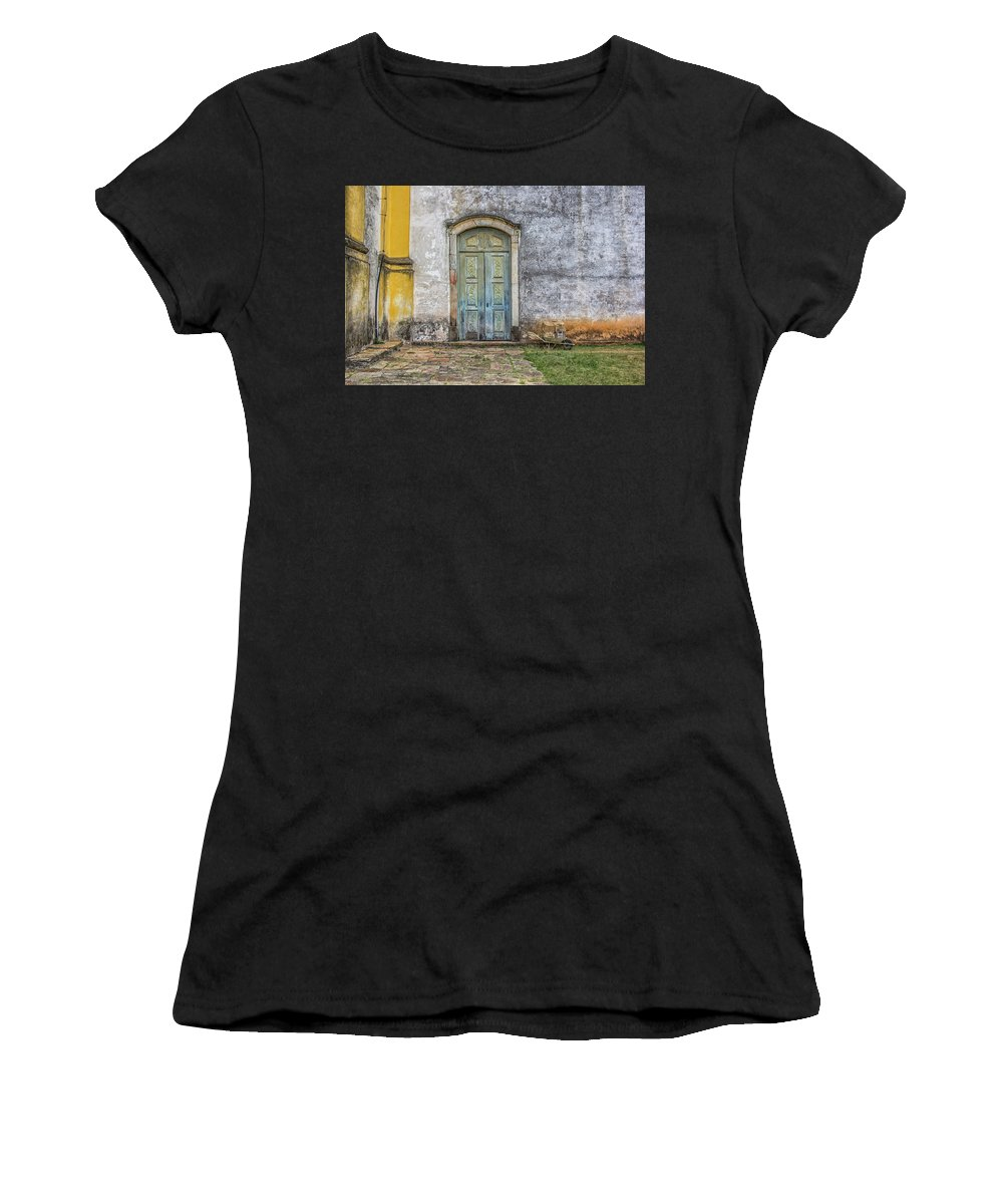 Blue Women's T-Shirt (Athletic Fit) featuring the photograph Blue Door by James Conway