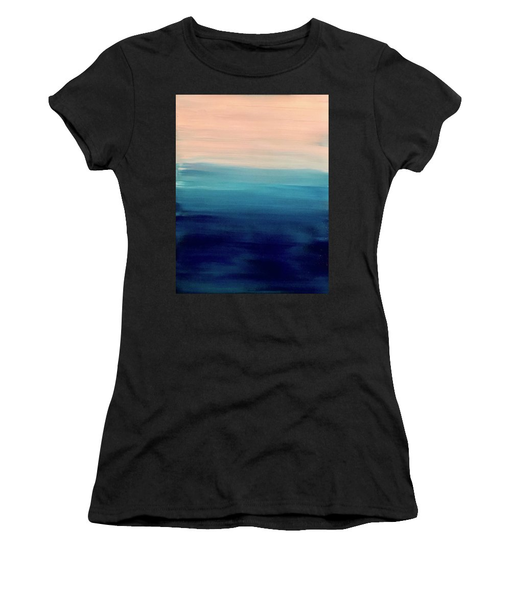 Blue Women's T-Shirt (Athletic Fit) featuring the painting Blue Fade by Marcus Mabry