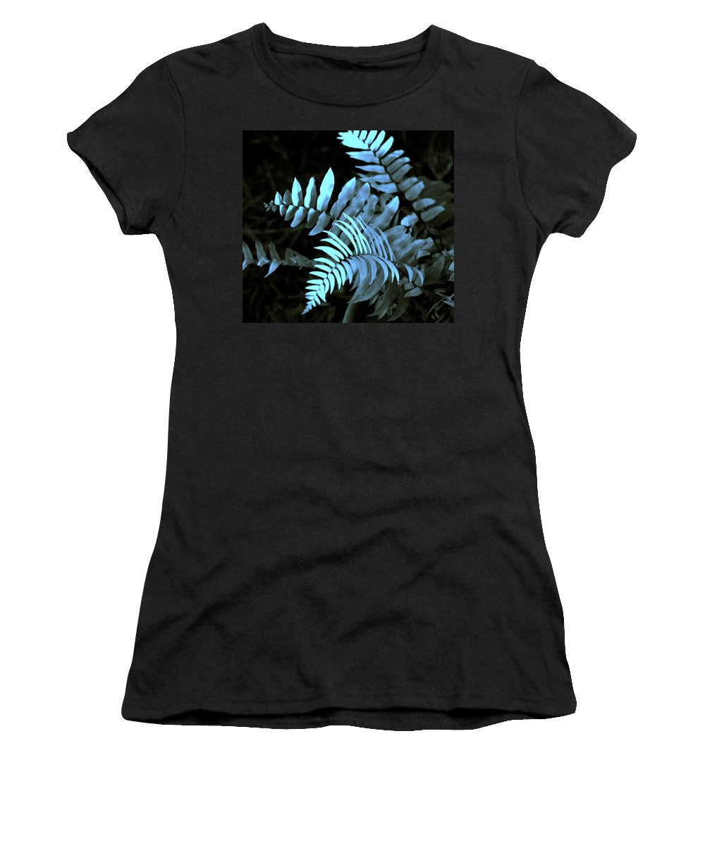 Abstract Women's T-Shirt (Athletic Fit) featuring the photograph Blue Fern by Susanne Van Hulst