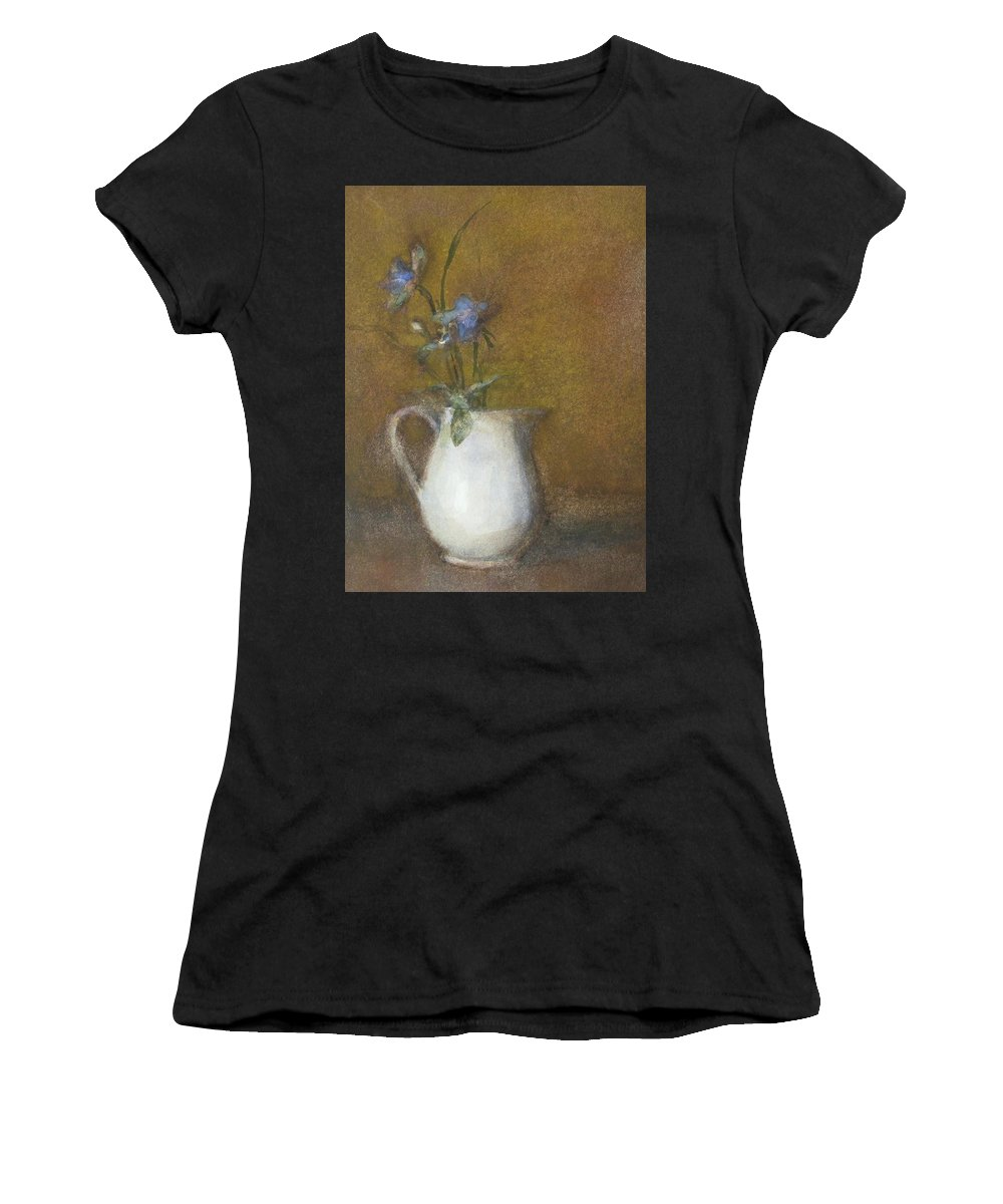 Floral Still Life Women's T-Shirt (Athletic Fit) featuring the painting Blue Flower by Joan DaGradi