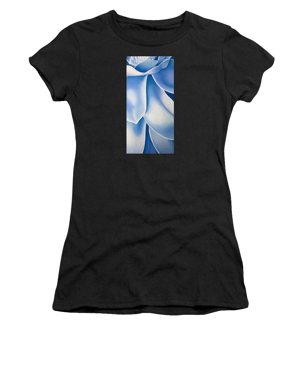 Flowers Women's T-Shirt (Athletic Fit) featuring the drawing Blue Flower by Joshua Morton