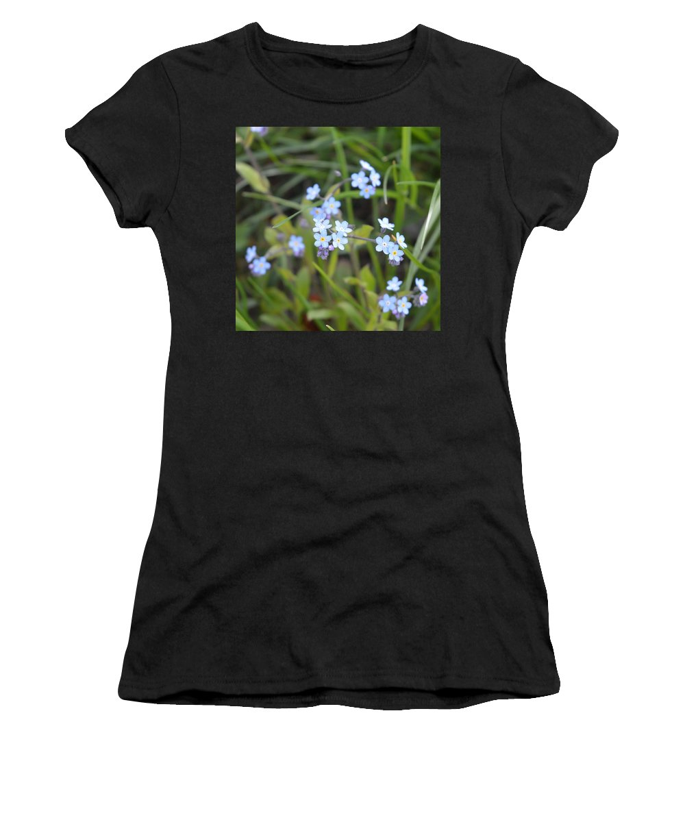Flowers Women's T-Shirt (Athletic Fit) featuring the photograph Blue Flowers by Gema Let