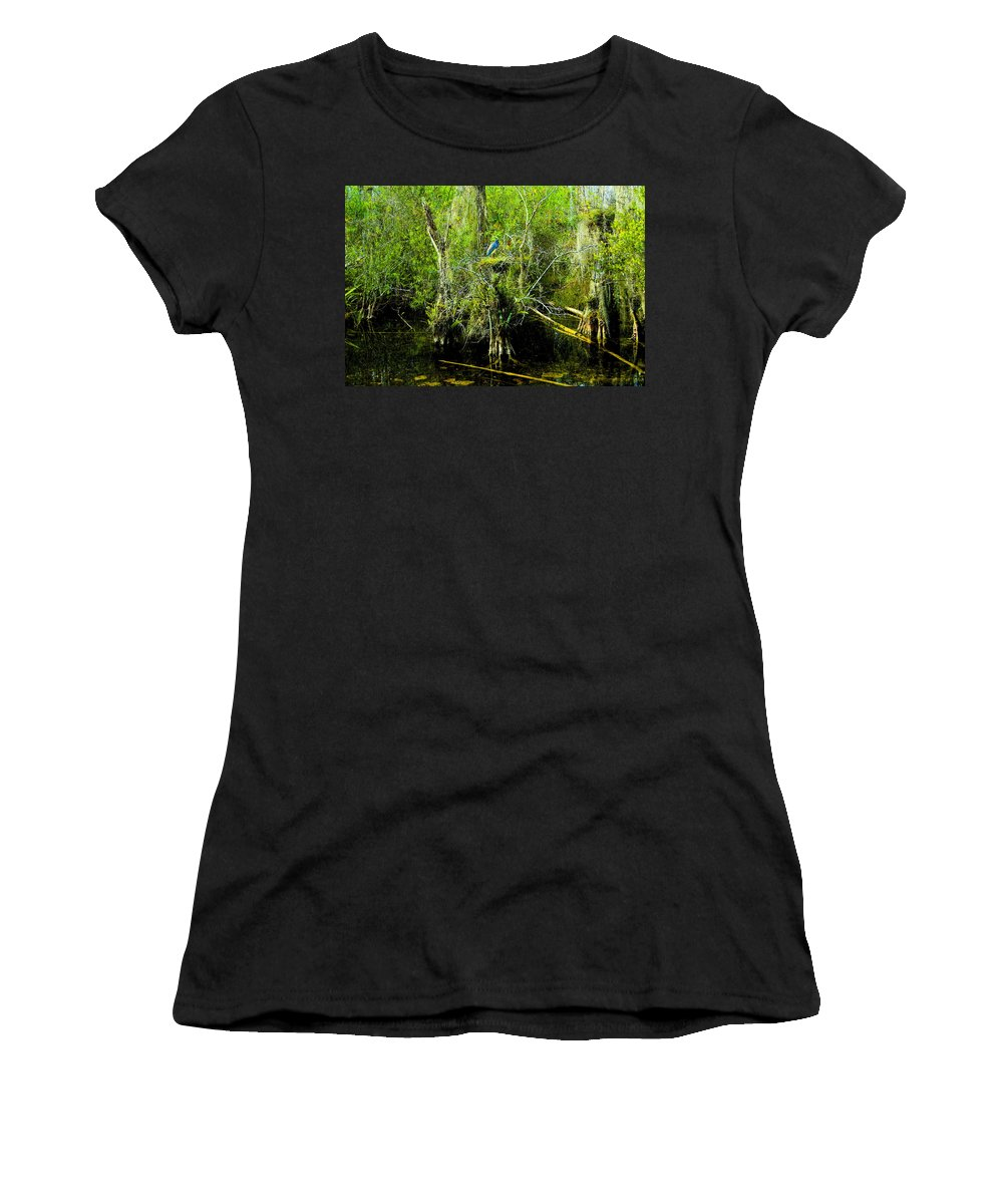 Art Women's T-Shirt (Athletic Fit) featuring the painting Blue Heron by David Lee Thompson