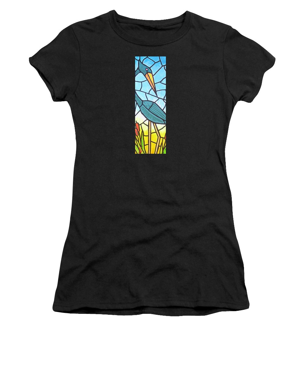Heron Women's T-Shirt (Athletic Fit) featuring the painting Blue Heron by Jim Harris