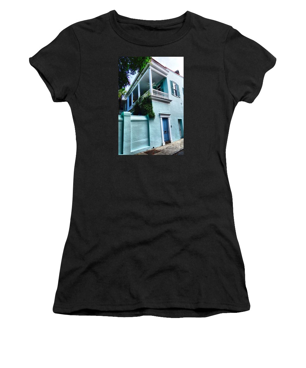 Charleston Women's T-Shirt (Athletic Fit) featuring the photograph Blue House With A Blue Door by Anthony Ackerman