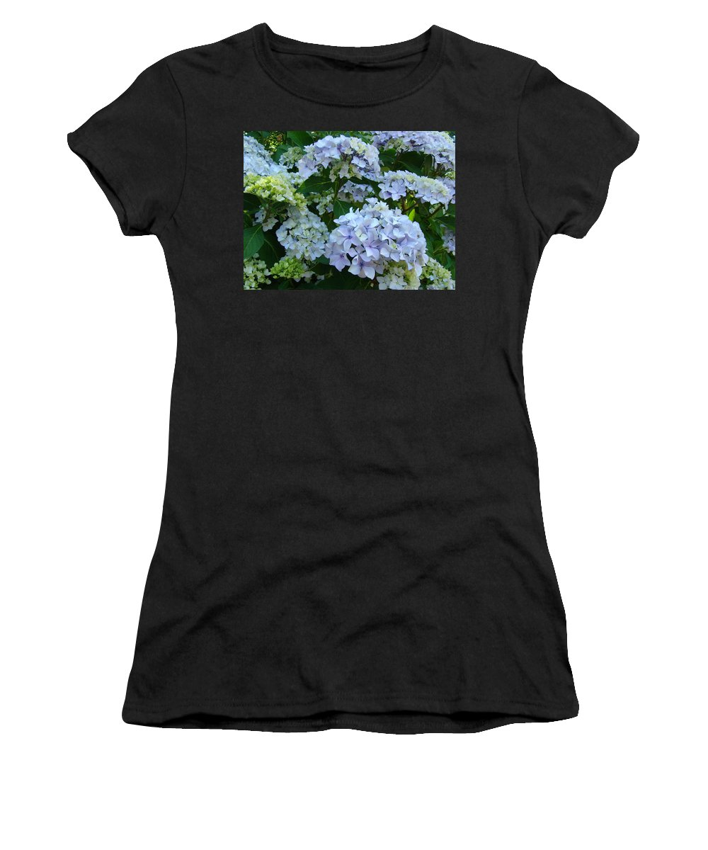 Hydrangea Women's T-Shirt (Athletic Fit) featuring the photograph Blue Hydrangeas Art Prints Hydrangea Flowers Giclee Baslee Troutman by Baslee Troutman