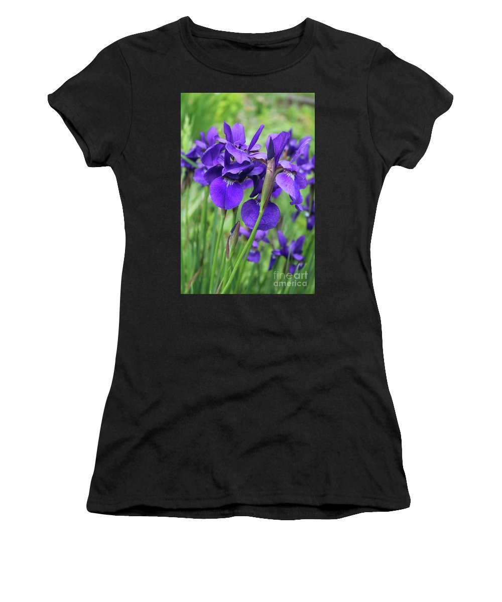 Irises Women's T-Shirt (Athletic Fit) featuring the photograph Blue Irises by Carol Groenen