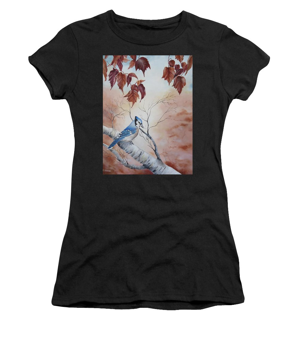 Blue Jay Women's T-Shirt (Athletic Fit) featuring the painting Blue Jay - Geai Bleu by Christine Grenier