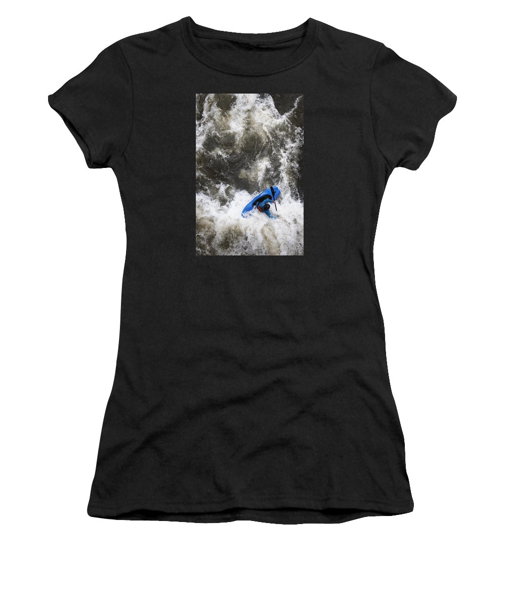 Excitment Women's T-Shirt (Athletic Fit) featuring the photograph Blue Kayaker by Harold Stinnette