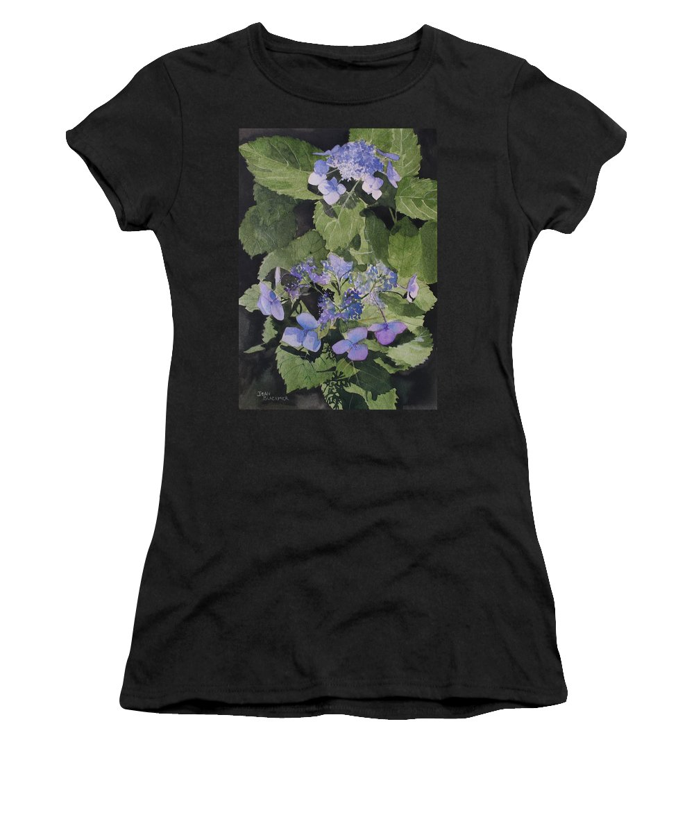 Flowers Women's T-Shirt (Athletic Fit) featuring the painting Blue Lace by Jean Blackmer