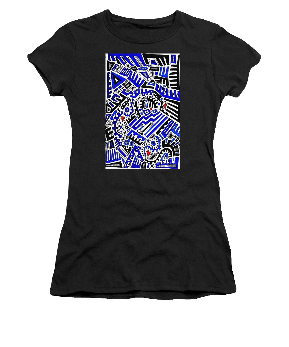 Doodle Women's T-Shirt featuring the drawing Blue Maze by Sarah Loft