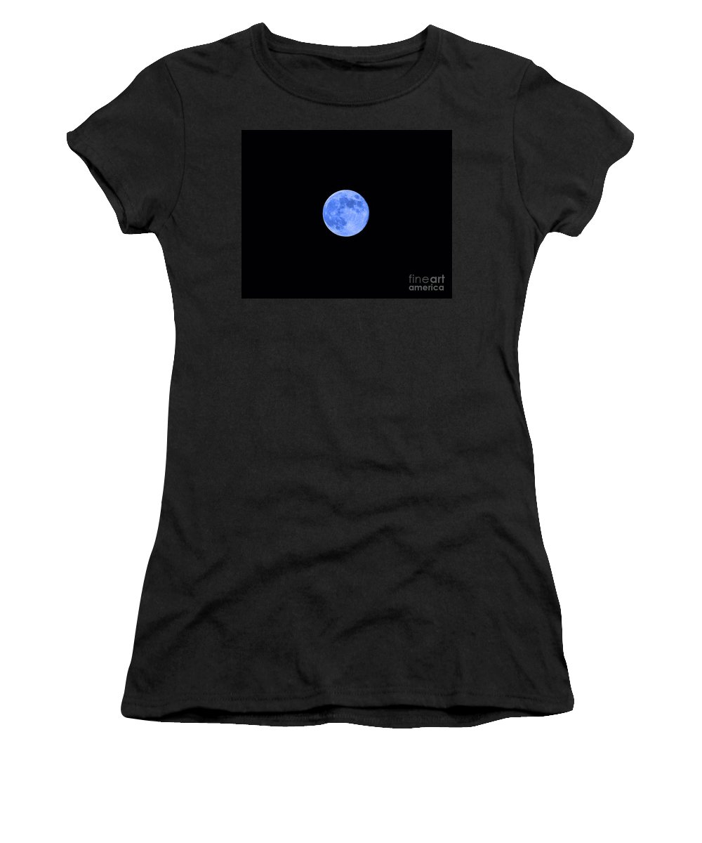 Moon Women's T-Shirt (Athletic Fit) featuring the photograph Blue Moon by Al Powell Photography USA
