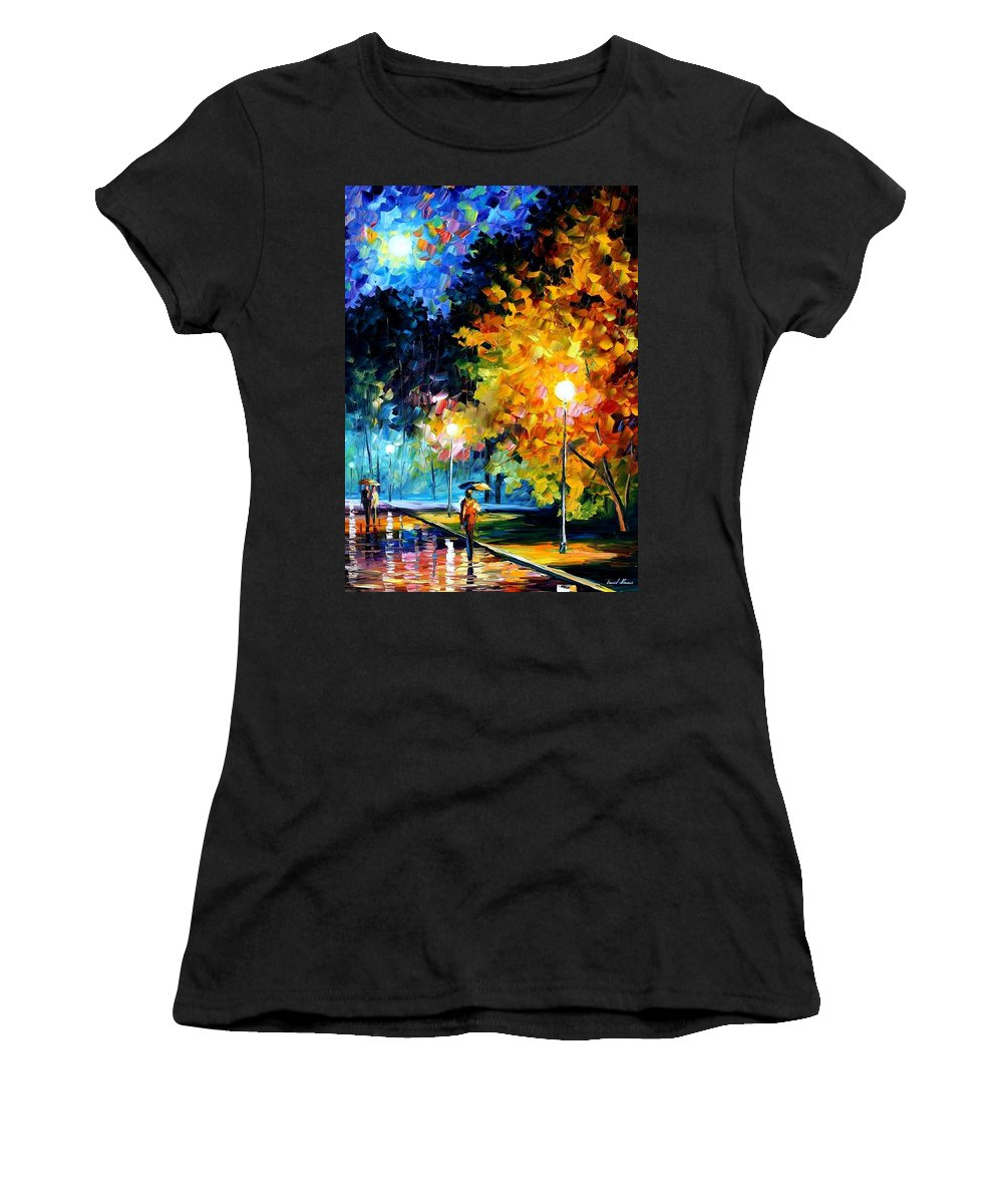 Afremov Women's T-Shirt featuring the painting Blue Moon by Leonid Afremov