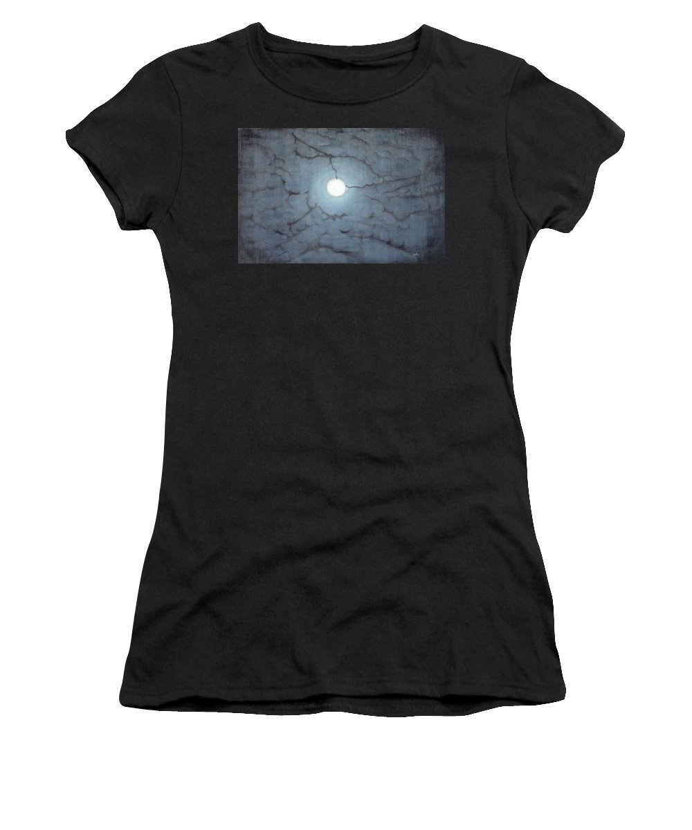 Moon Women's T-Shirt (Athletic Fit) featuring the painting Blue Moon by Usha Shantharam