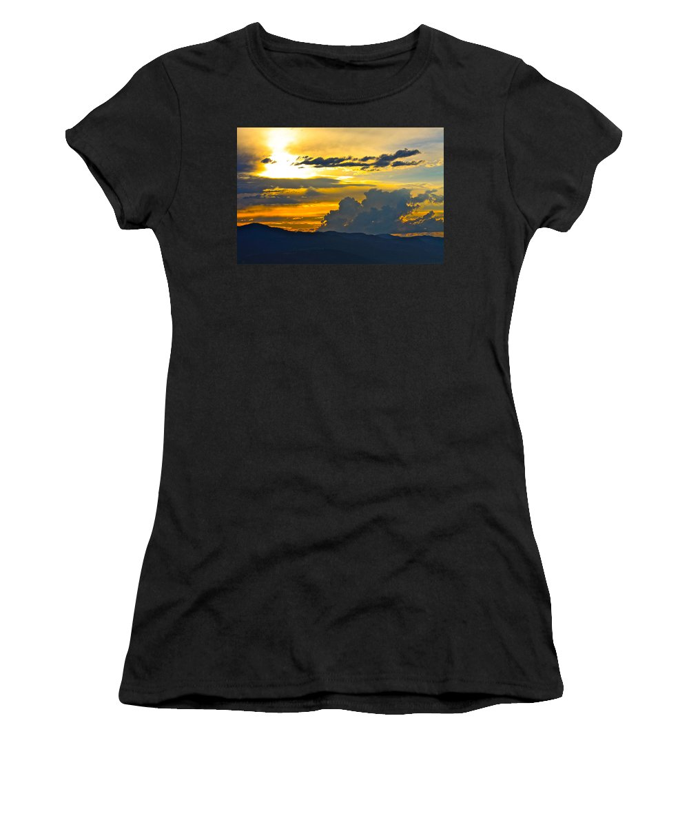 Blue Women's T-Shirt (Athletic Fit) featuring the photograph Blue Mountain Sunset by Karon Melillo DeVega