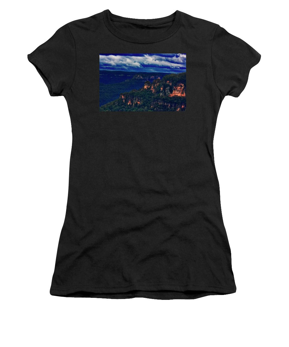 Blue Mountains Women's T-Shirt (Athletic Fit) featuring the photograph Blue Mountains by Douglas Barnard