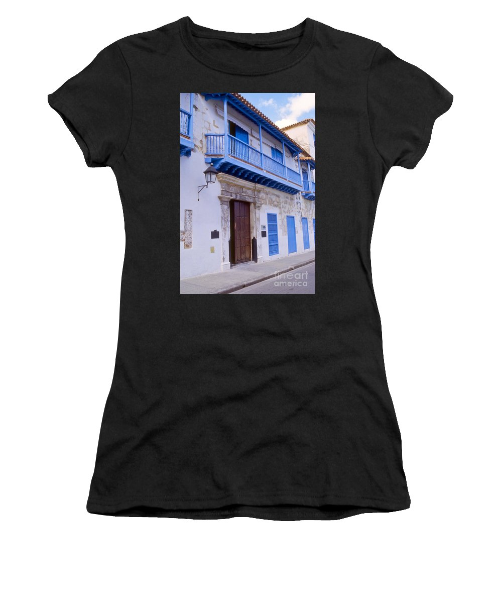 Havana Cuba Apartment Apartments Building Buildings Structure Structures Architecture City Cities Cityscape Cityscapes Window Windows Street Streets Balcony Balconies Women's T-Shirt (Athletic Fit) featuring the photograph Blue Trim On White Building by Bob Phillips