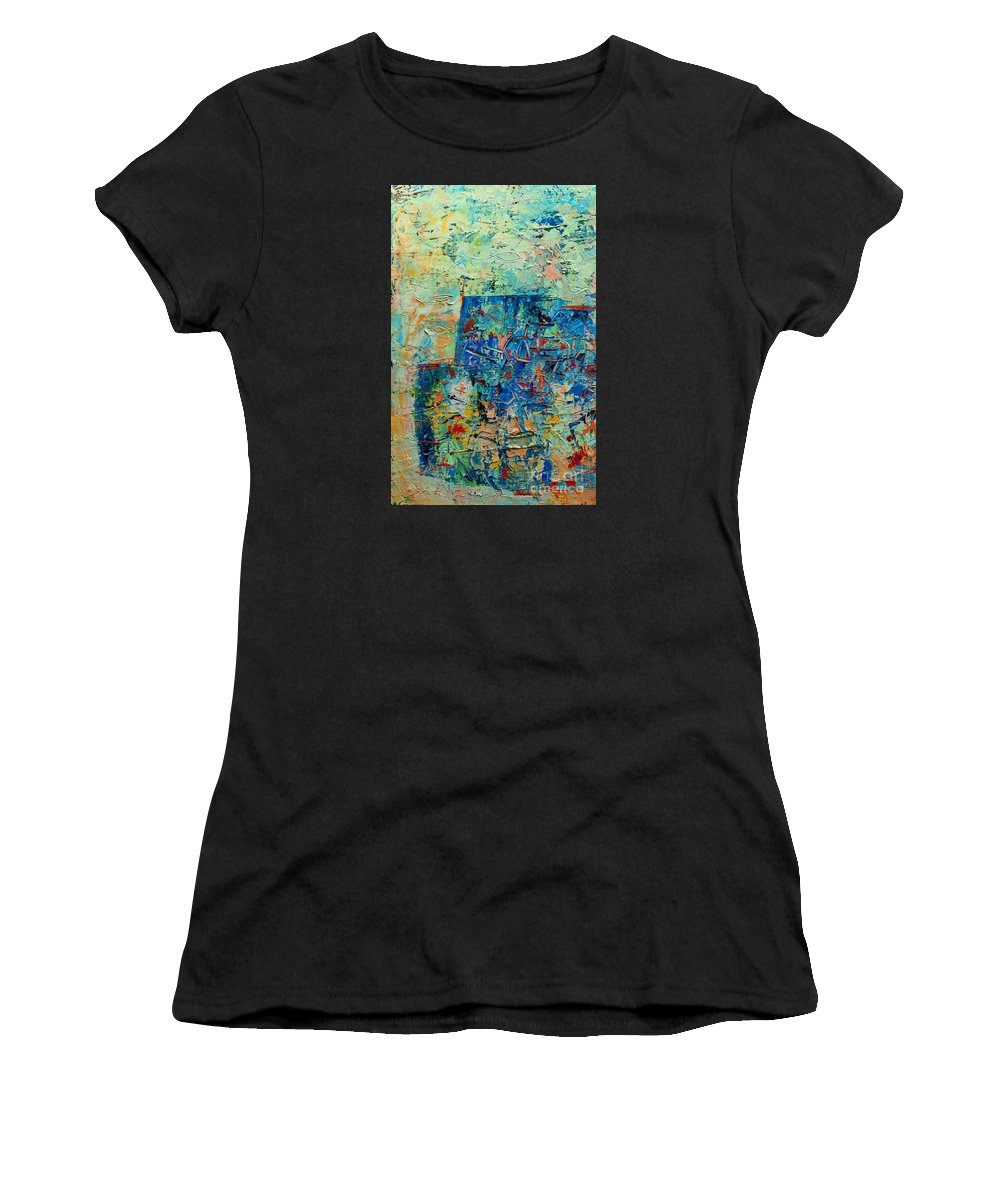 Blue Women's T-Shirt featuring the painting Blue Play 1 by Ana Maria Edulescu