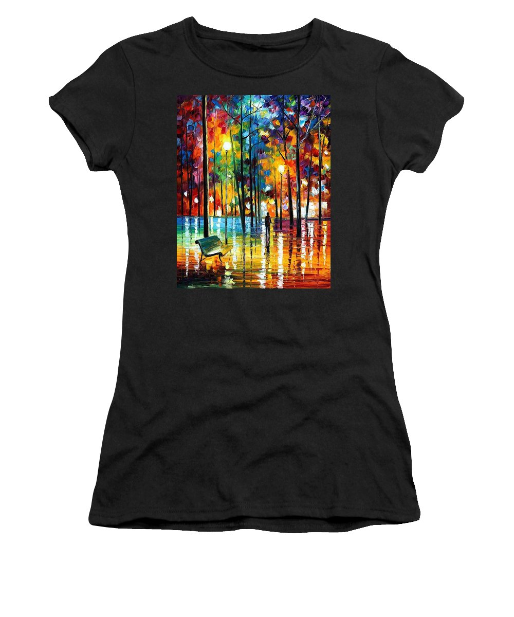 Afremov Women's T-Shirt featuring the painting Blue Refelctions by Leonid Afremov