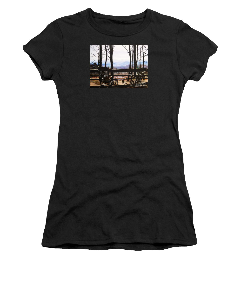 North Carolina Women's T-Shirt featuring the painting Blue Ridge Mountain Porch View by Patricia L Davidson