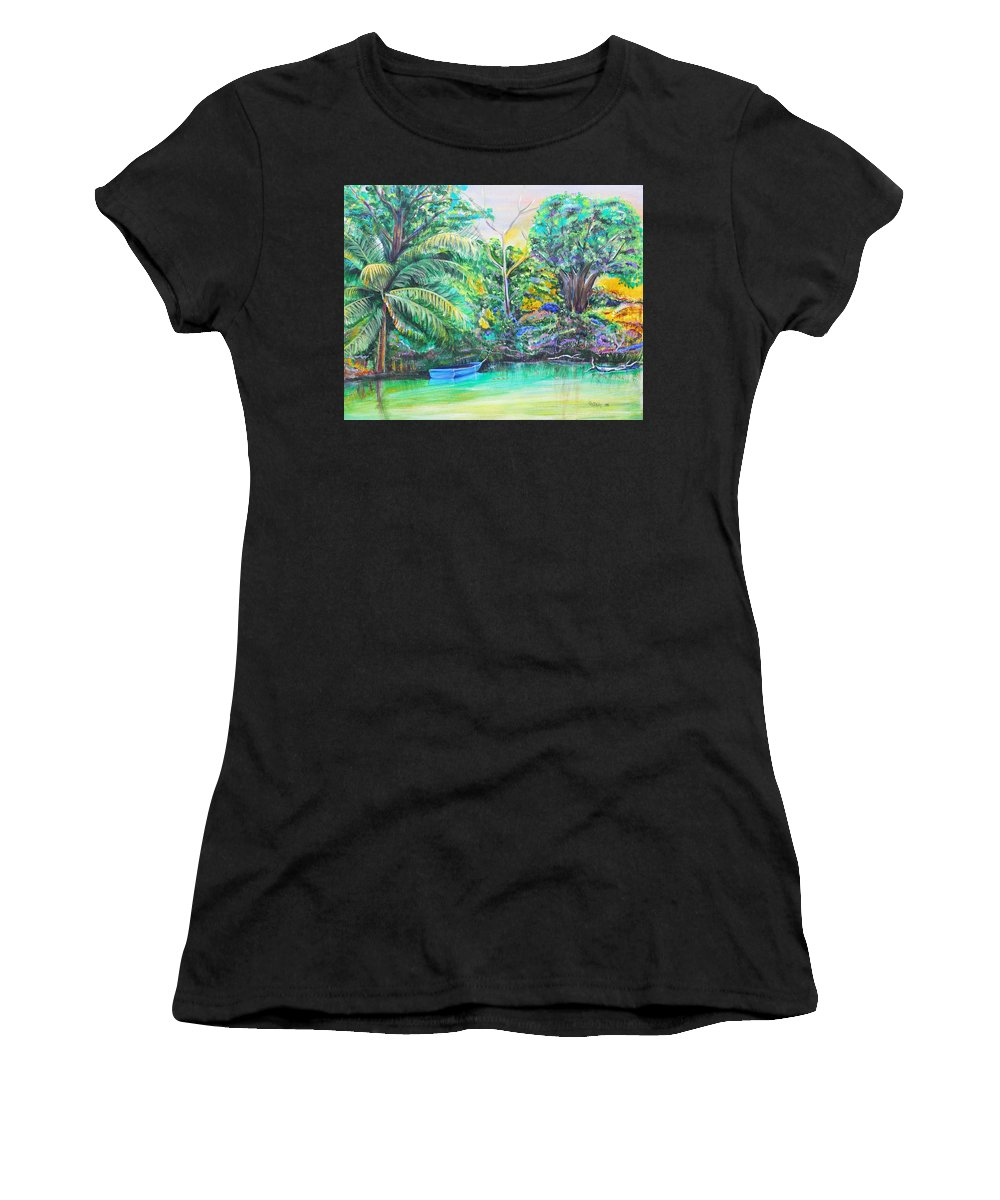 Lagoon Women's T-Shirt featuring the painting Blue Skiff by Patricia Piffath