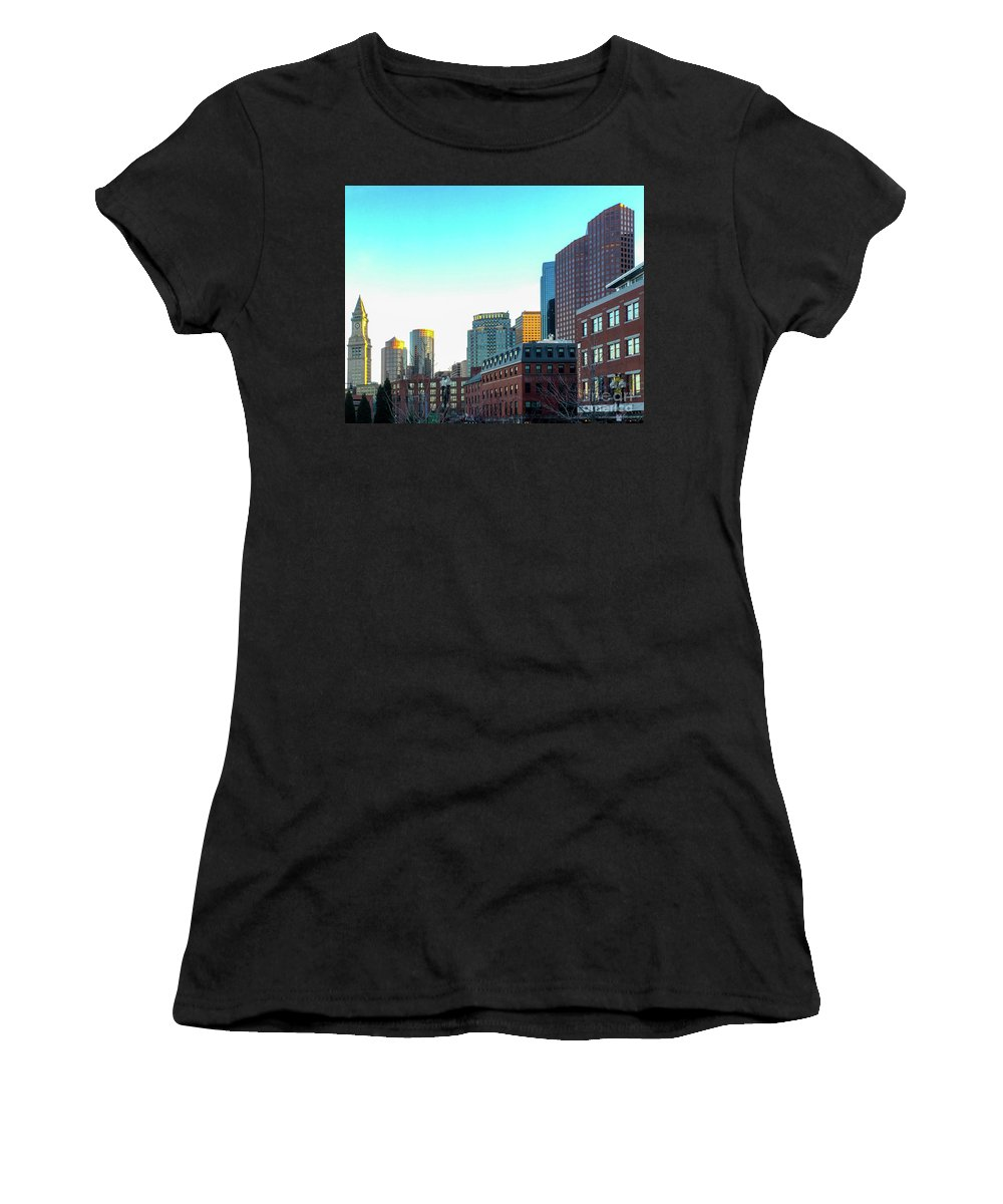 Sun Women's T-Shirt featuring the photograph Blue Sky Boston by Timothy Welch