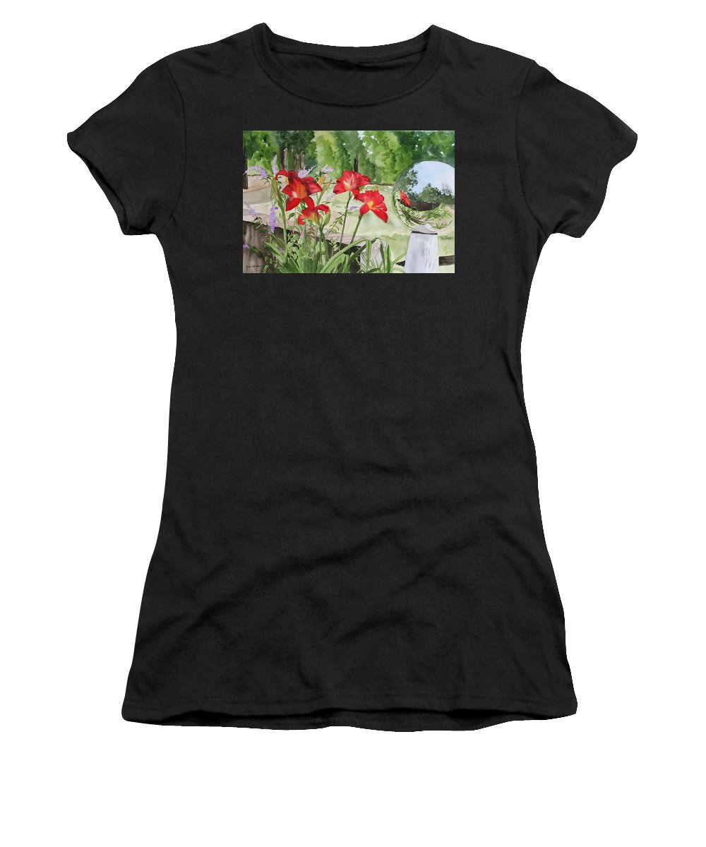 Flowers Women's T-Shirt (Athletic Fit) featuring the painting Blue Sky Reflections by Jean Blackmer