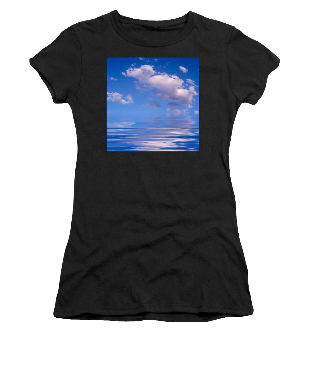 Original Art Women's T-Shirt (Athletic Fit) featuring the photograph Blue Sky Reflections by Jerry McElroy