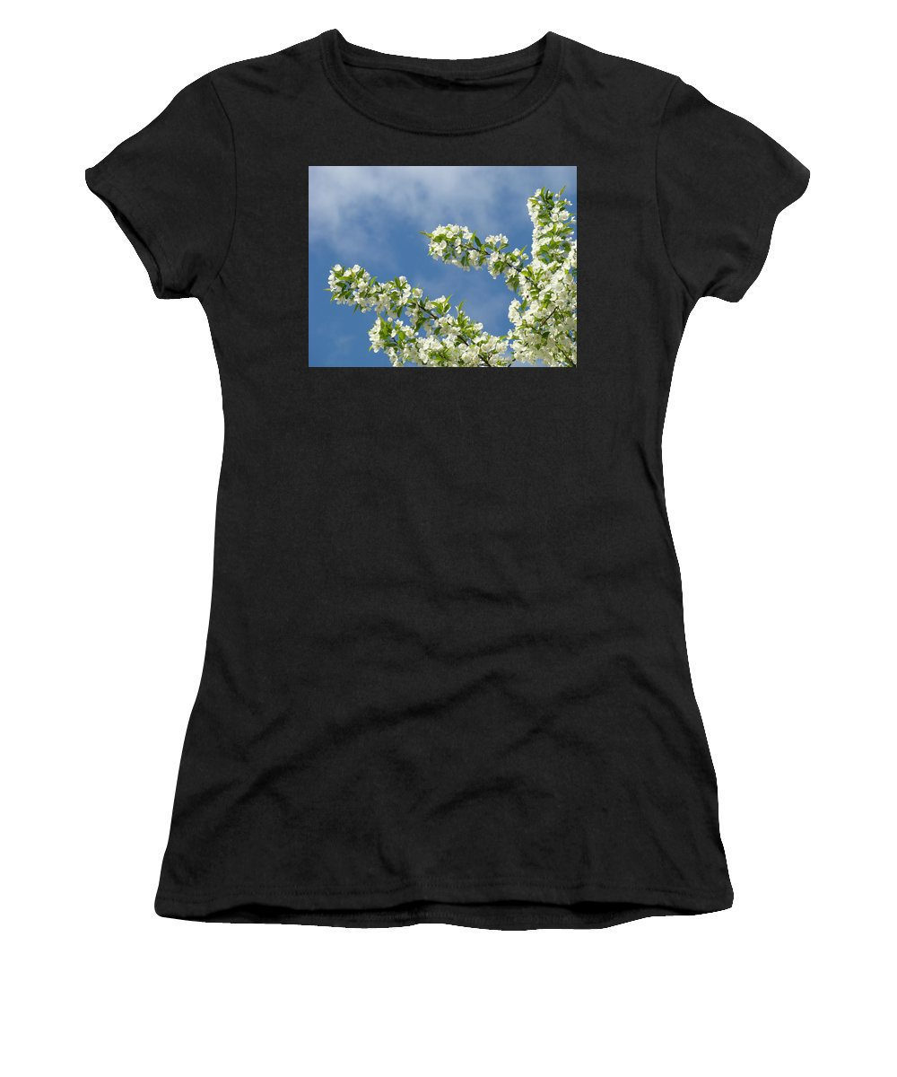 Blossom Women's T-Shirt (Athletic Fit) featuring the photograph Blue Sky White Clouds Landscape Art White Tree Blossoms Spring by Baslee Troutman