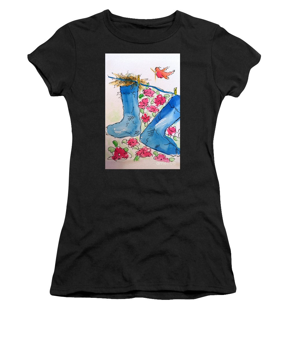 Stockings Women's T-Shirt featuring the painting Blue Stockings by Claire Bull
