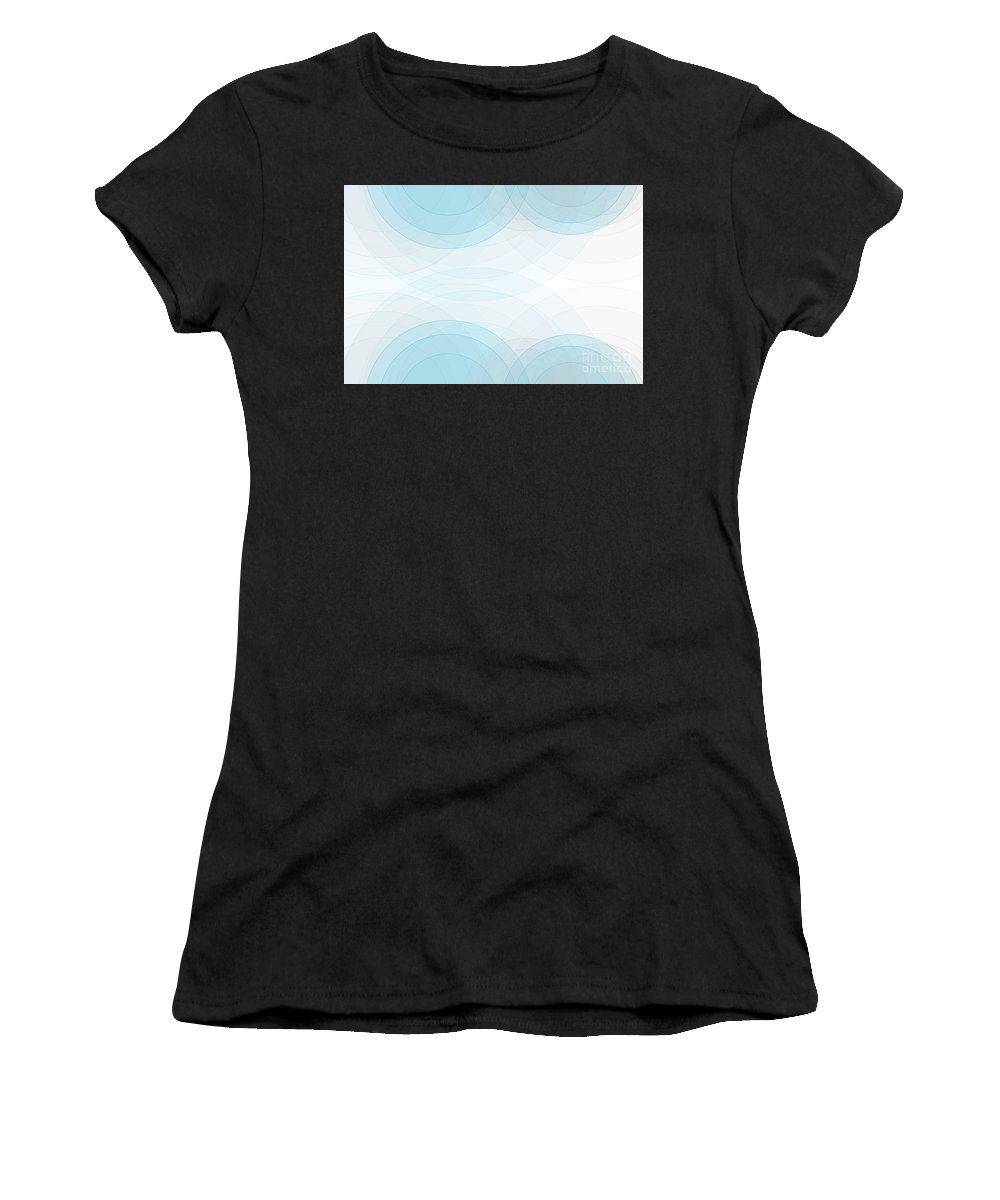 Abstract Women's T-Shirt (Athletic Fit) featuring the digital art Blue Tec Semi Circle Background Horizontal by Frank Ramspott