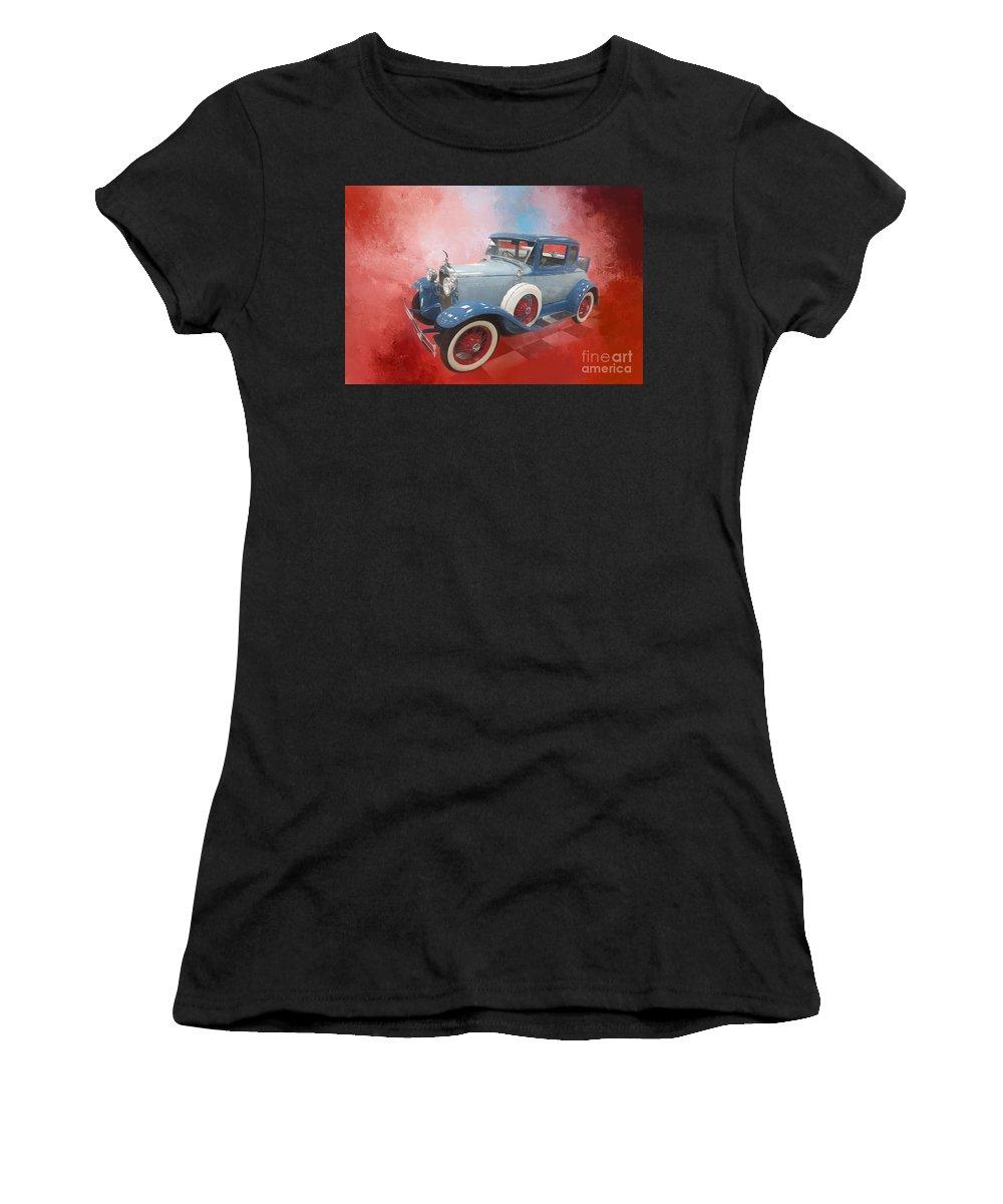 Classic Car Women's T-Shirt featuring the digital art Blue Vintage Car by Elisabeth Lucas