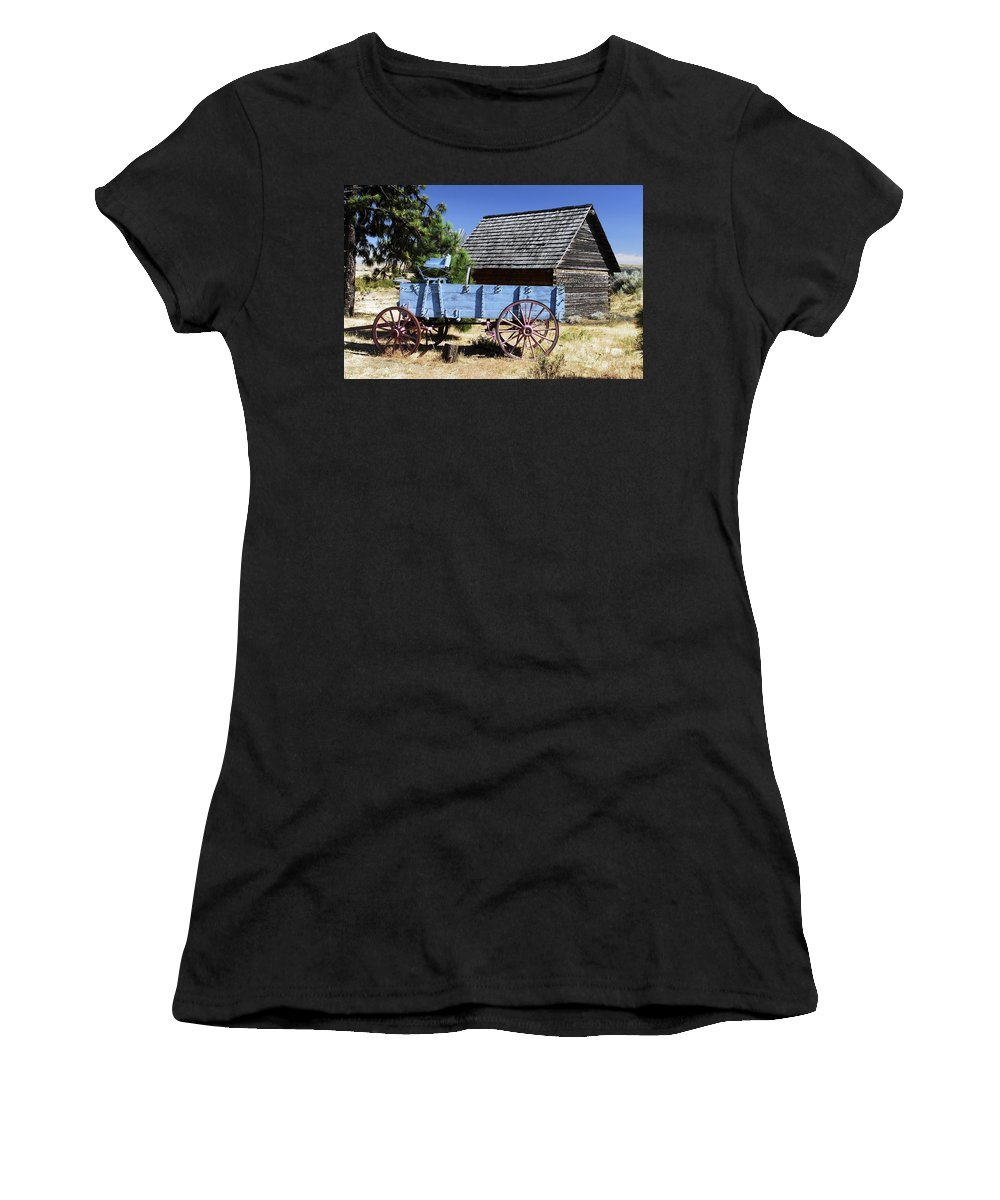 Wagon Women's T-Shirt (Athletic Fit) featuring the photograph Blue Wagon by David Lee Thompson