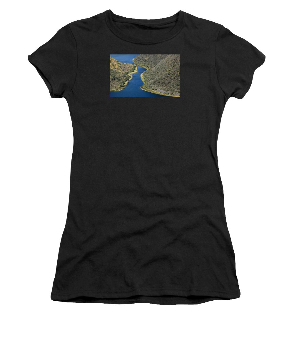 Lake Cuicocha Women's T-Shirt (Athletic Fit) featuring the photograph Blue Water In A Channel by Robert Hamm