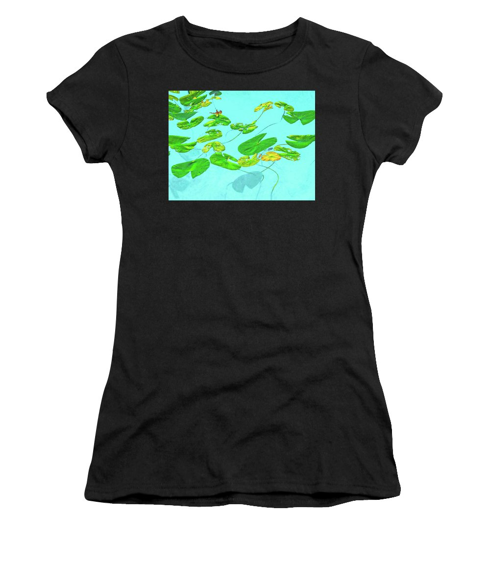 Wetlands Women's T-Shirt (Athletic Fit) featuring the photograph Blue Water Lilies by Tom Hageman