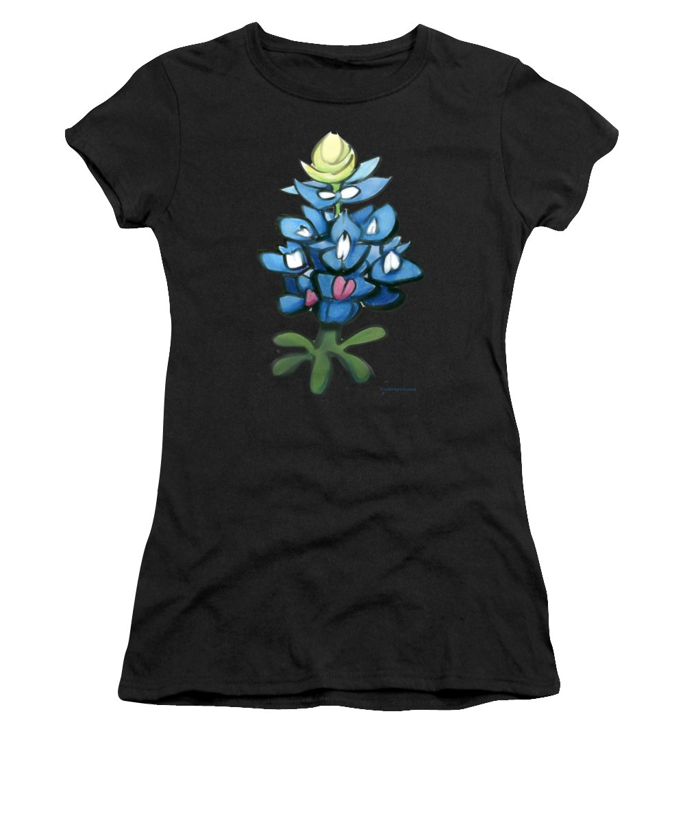 Bluebonnet Women's T-Shirt (Athletic Fit) featuring the digital art Bluebonnet by Kevin Middleton