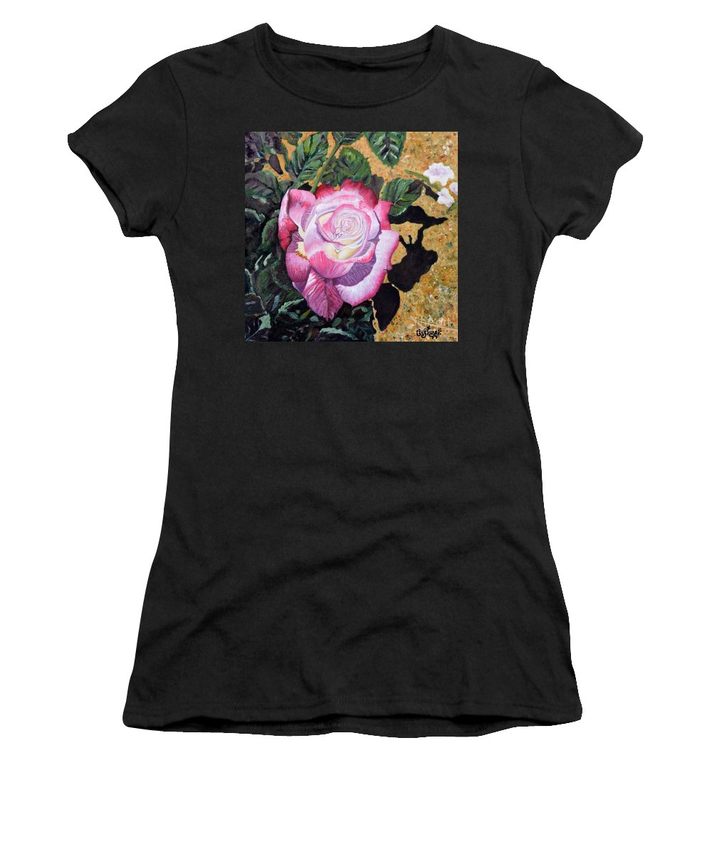 Rose Women's T-Shirt featuring the painting Blushing Rose by Caroline Street