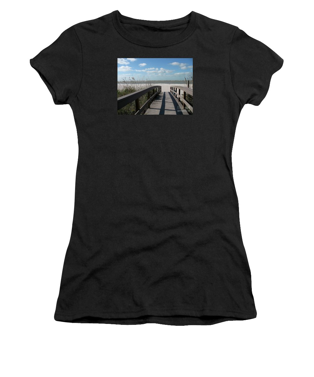 Boardwalk Women's T-Shirt (Athletic Fit) featuring the photograph Boardwalk To The Beach by Christiane Schulze Art And Photography