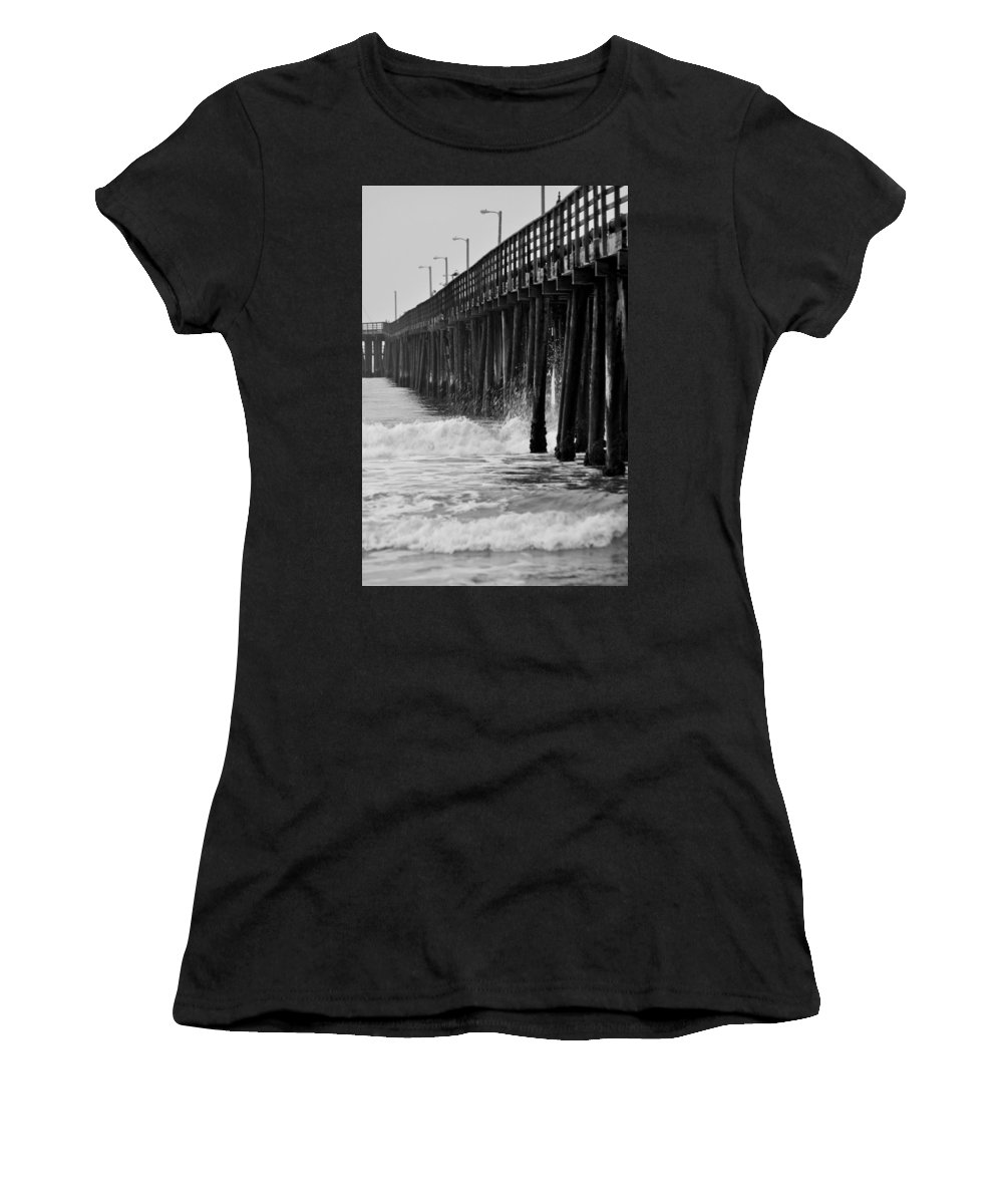 Portrait Women's T-Shirt (Athletic Fit) featuring the photograph Boardwalk Waves by Shannon Nickerson