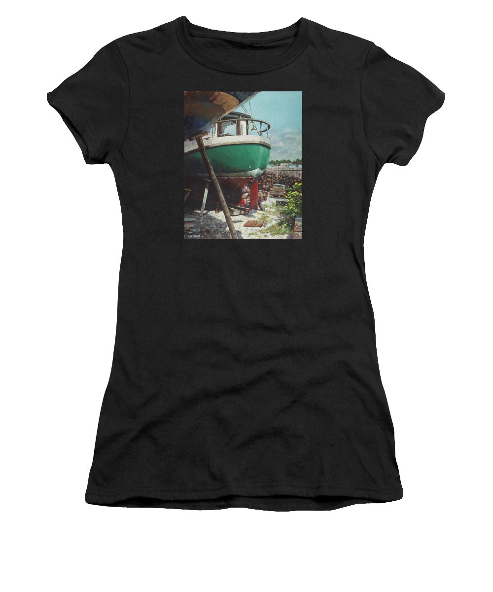 Boat Women's T-Shirt featuring the painting Boat Yard Boat 01 by Martin Davey